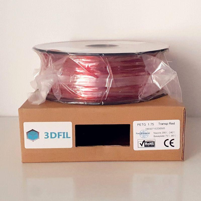 Bobine 1kg PETG Rouge Transparent - 1.75mm