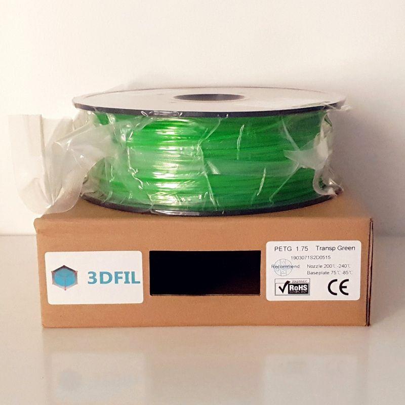 Bobine 1kg PETG Vert Transparent - 1.75mm